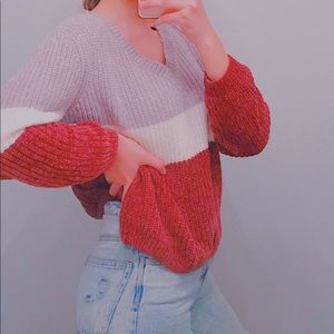 Multi color sweater and mom jeans!!